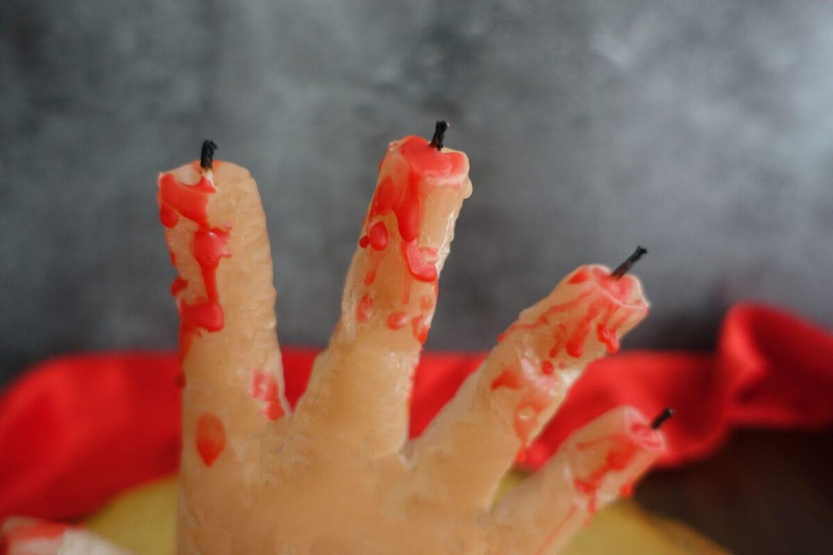 Halloween Deko Bastelidee Kerze gruslig