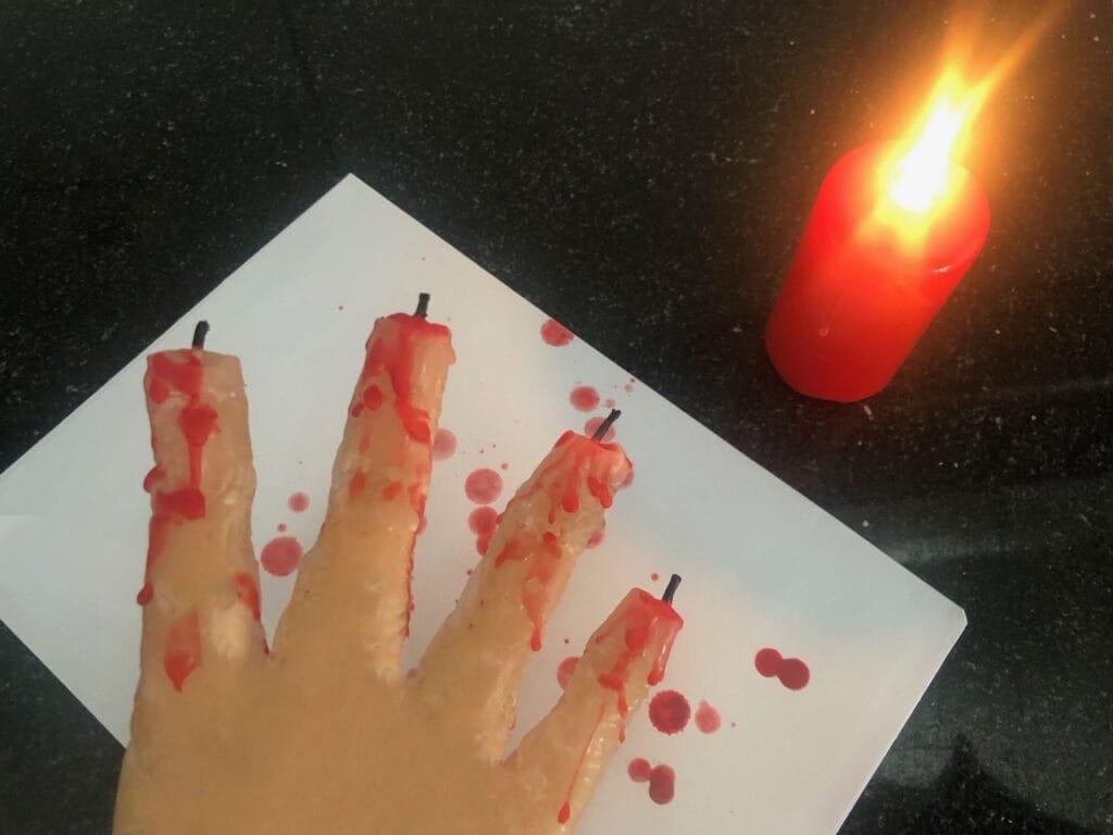 Halloween Deko basteln Kerze-blutet