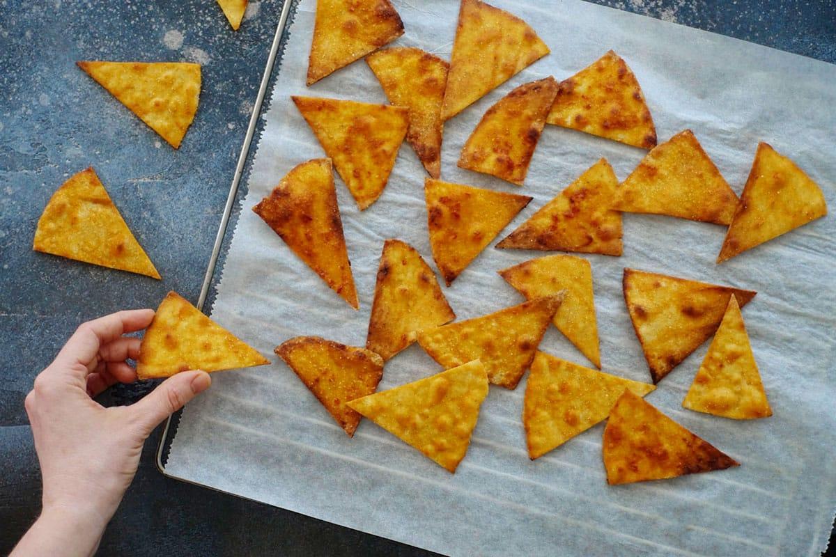 Rezept zum Selber machen von veganen Tortilla-Chips