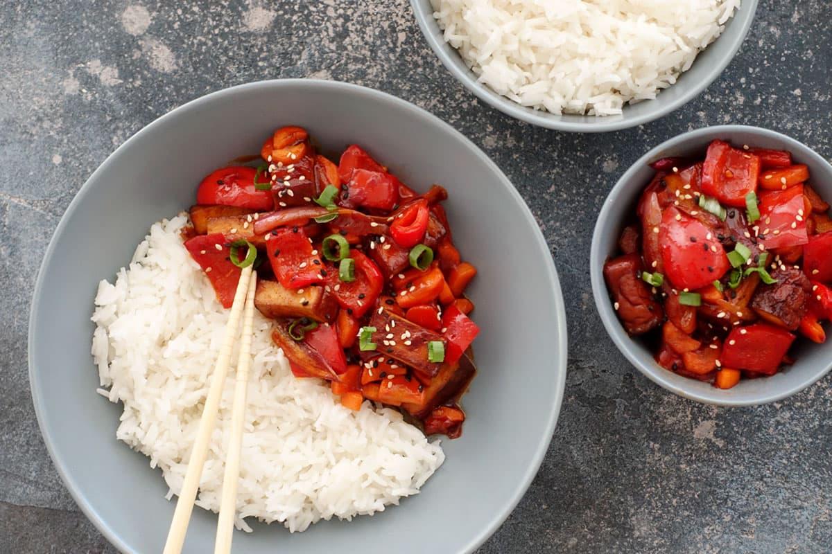 Rezept für vegetarisches Tofu Sweet and sour mit Tofu und Gemüse