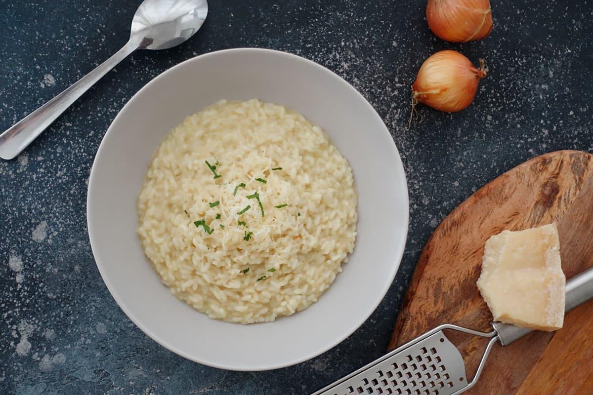 Risotto Grundrezept mit Parmesan und Weisswein