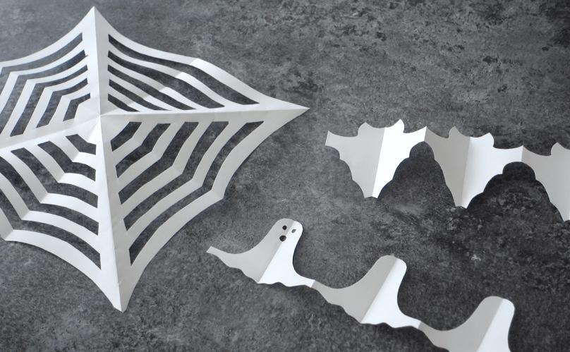 Halloween Scherenschnitte basteln mit Kindern einfach und günstig